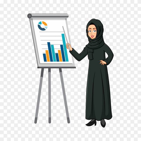 Arabic businesswoman cartoon character in traditional clothes doing a presentation isolated on transparent background PNG
