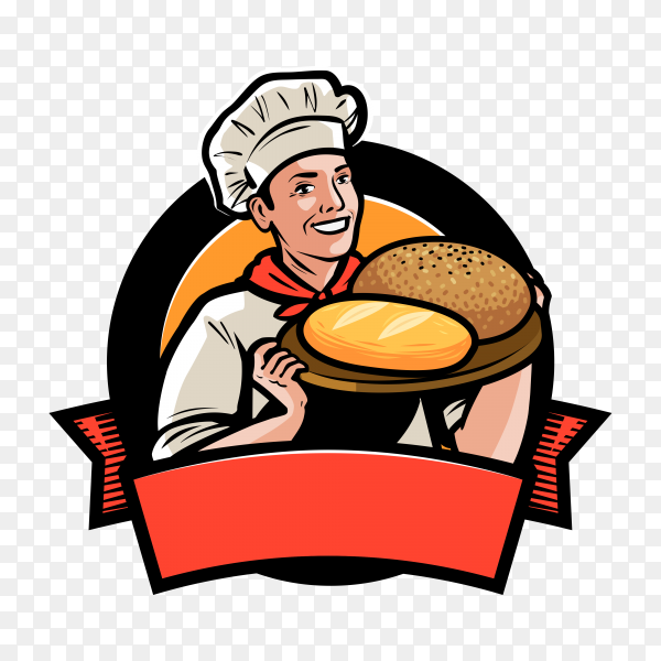 Bakery, bakehouse logo or label. Happy baker or cook with bread in hand on transparent background PNG