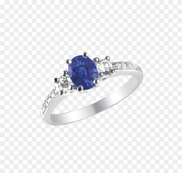 Beautiful Engagement ring with blue diamond on transparent background PNG