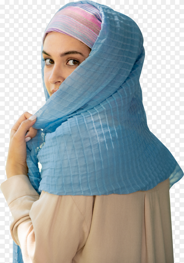 Beautiful young Arab woman in stylish hijab isolated on transparent background PNG