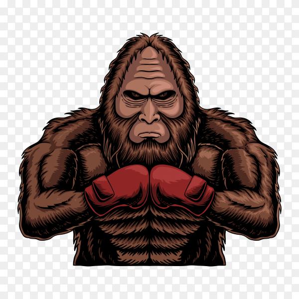 Bigfoot wearing boxing gloves sunset retro on transparent background PNG