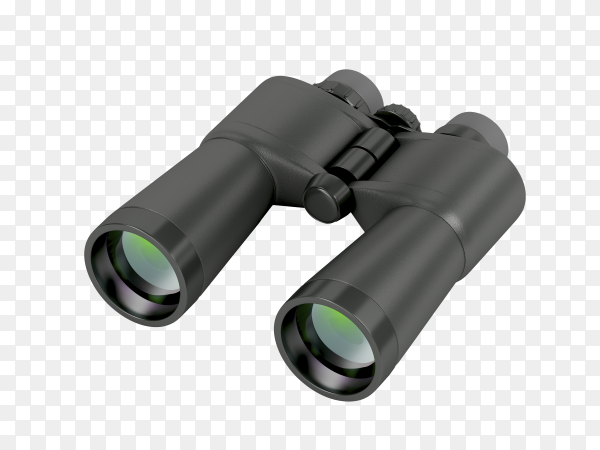 Black binoculars isolated on transparent background PNG