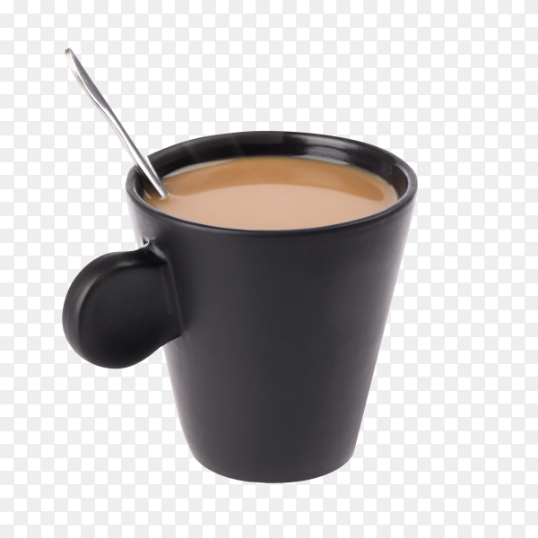 Black coffee bowl on transparent background PNG