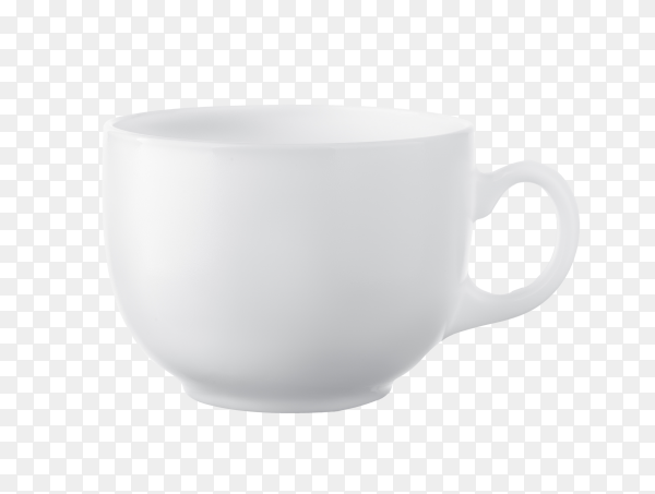 Blank white coffee cup on transparent background PNG