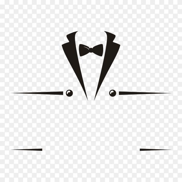 Bow tie tuxedo suit gentleman fashion tailor clothes vintage classic logo design on transparent background PNG
