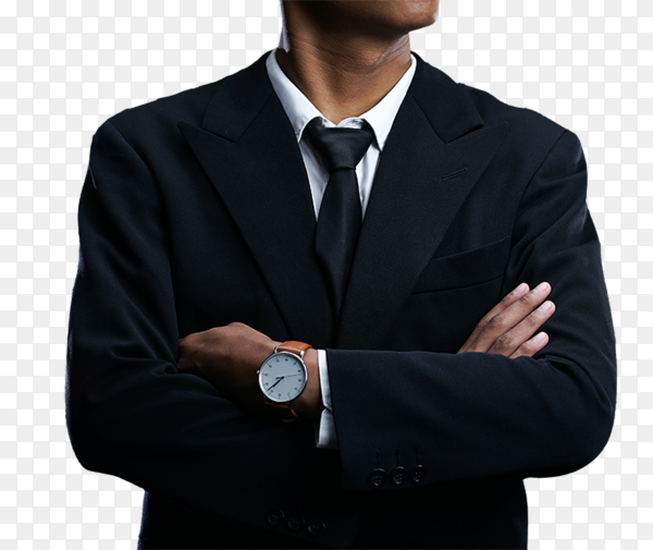 Businessman with arms crossed on transparent background PNG