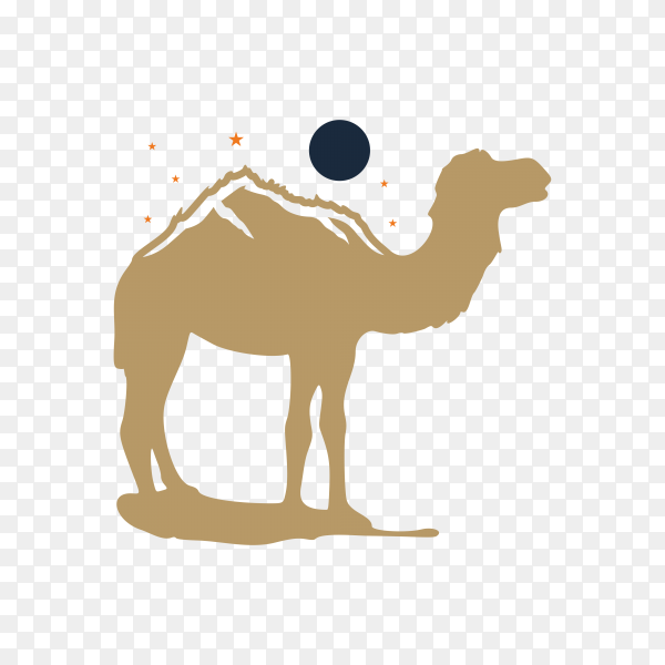 Camel and moon logo concept on transparent background PNG