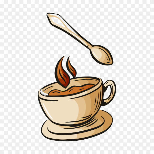 Cartoon hand drawn coffee logo on transparent background PNG