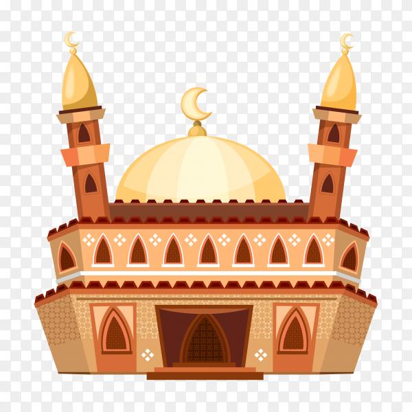 Cartoon mosque illustration on transparent background PNG