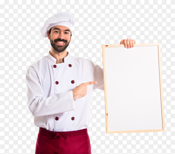 Chef holding empty placard on transparent background PNG
