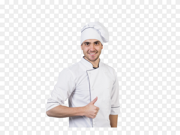 Chef with thumb up on transparent background PNG