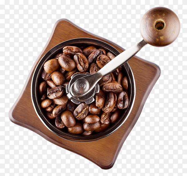 Coffee beans with grinder on transparent background PNG