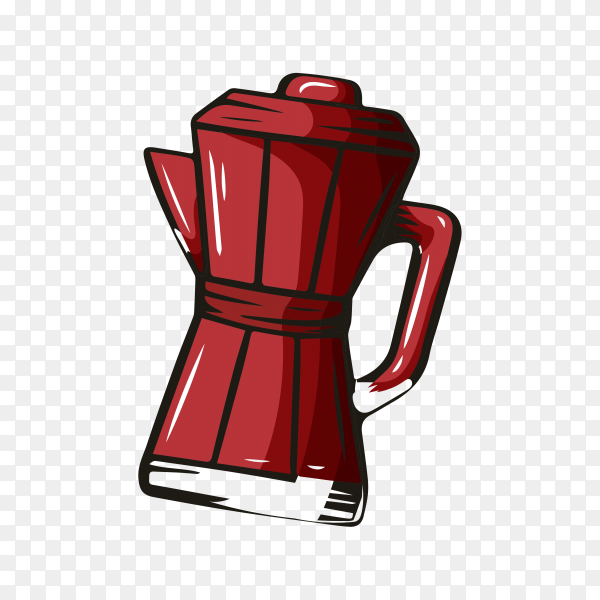 Coffee element, hand drawn sketch of drink for cafe menu on transparent background PNG