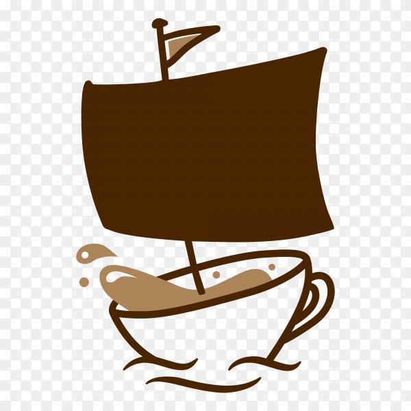 Coffee sailor cafe logo icon illustration on transparent background PNG