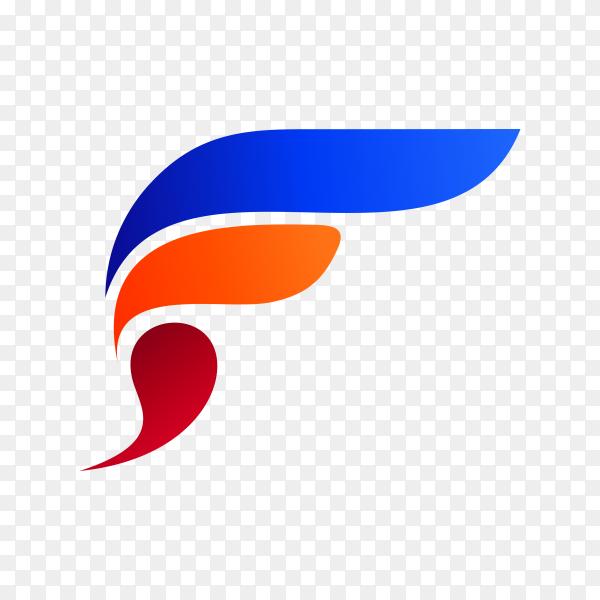 Colorful letter F logo design template on transparent background PNG