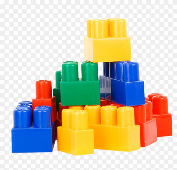 Colorful plastic bricks on transparent background PNG