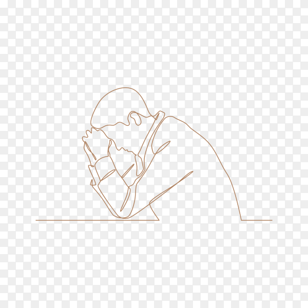 Continuous line drawings of man feeling sad tired and worried about suffering from depression in mental health on transparent background PNG