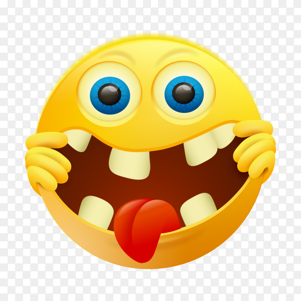 Crazy yellow emoji face on transparent background PNG