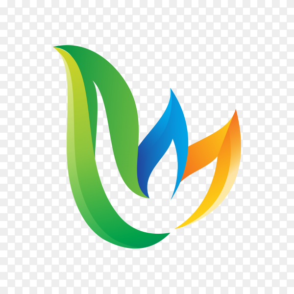 Creative colorful initial logo on transparent background PNG