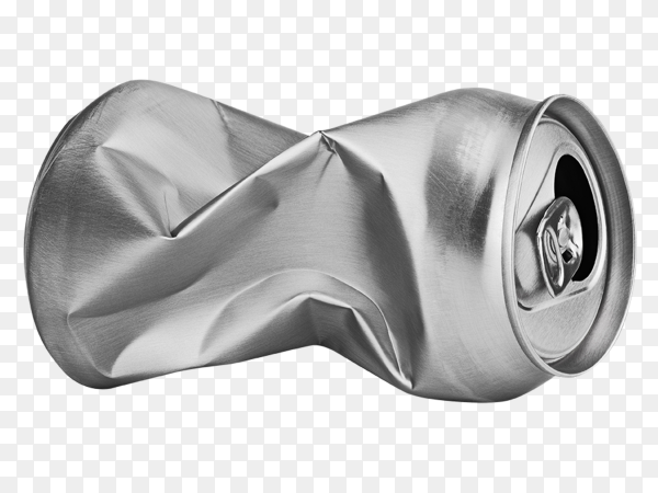 Crumpled empty can isolated on transparent background PNG