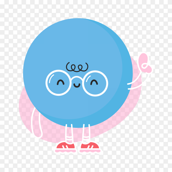 Cute funny blue ball on transparent background PNG