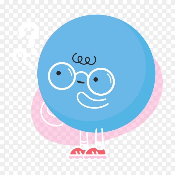 Cute funny blue ball with question mark on transparent background PNG