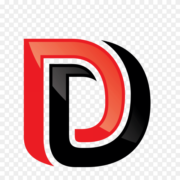 D letter logo design template on transparent background PNG