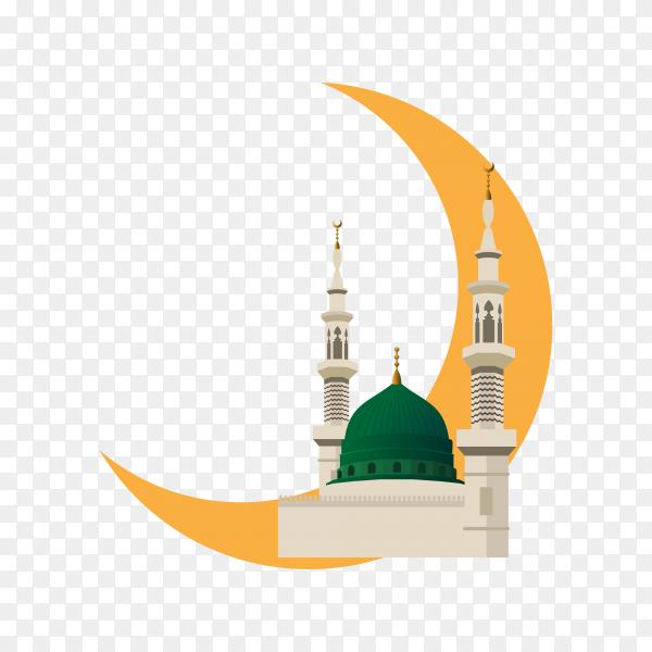 Decorative Ramadan Kareem with mosque on transparent background PNG