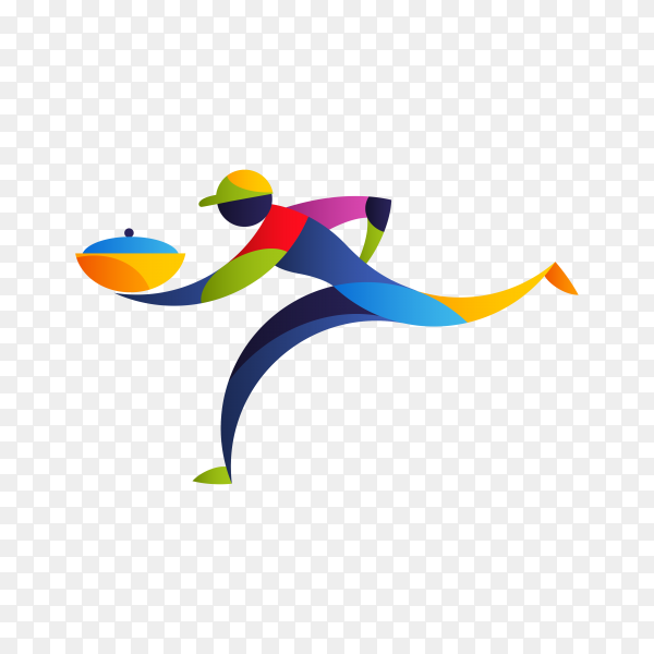 Delivery logo template with colorful man on transparent background PNG
