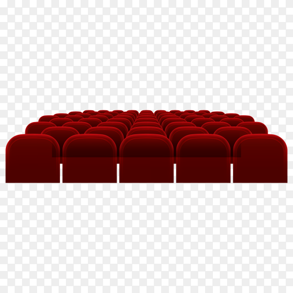 Empty movie theater auditorium with red seats cinema hall interior on transparent background PNG