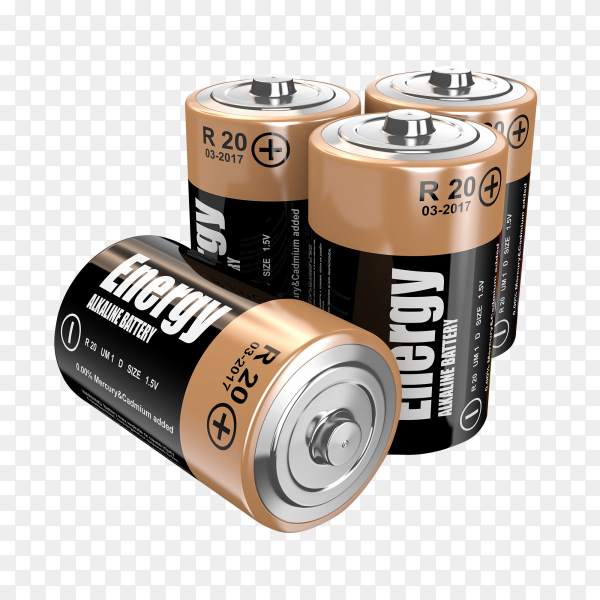 Energy batteries on transparent background PNG