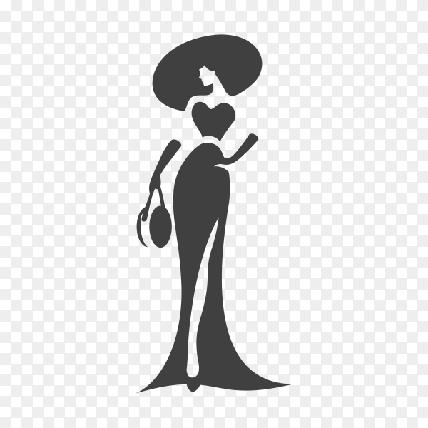 Fashion elegant woman silhouette logo template on transparent background PNG