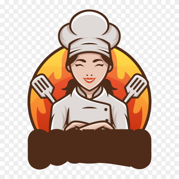 Female Chef Logo template on transparent background PNG