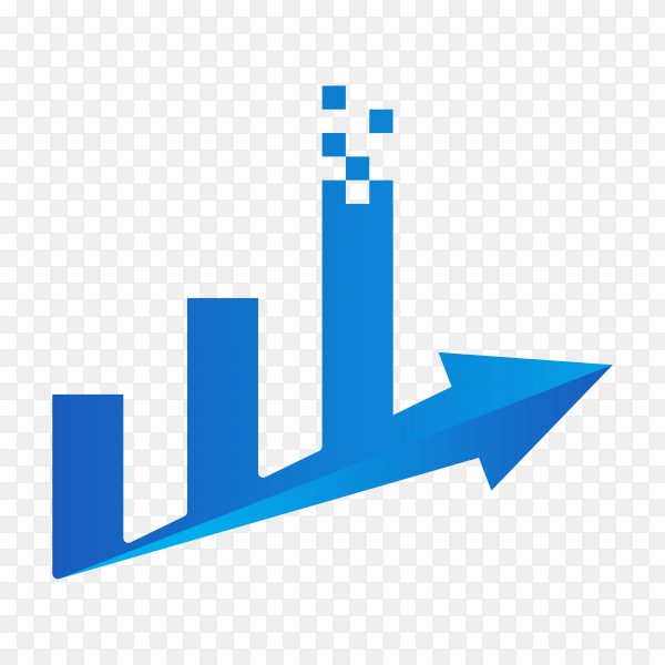 Finance chart logo design template on transparent background PNG