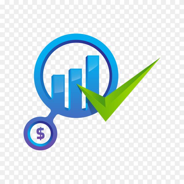 Finance chart logo symbol on transparent background PNG