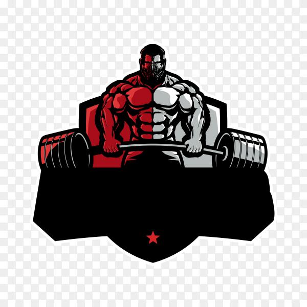 Fitness logo template design on transparent background PNG