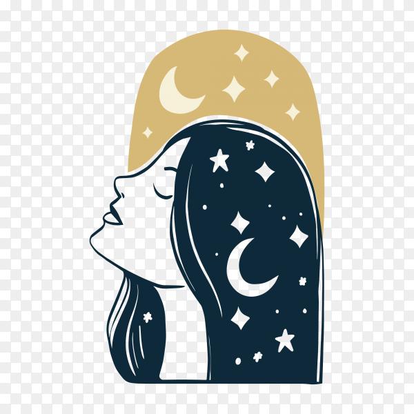 Flat-hand drawn hair salon logo on transparent background PNG