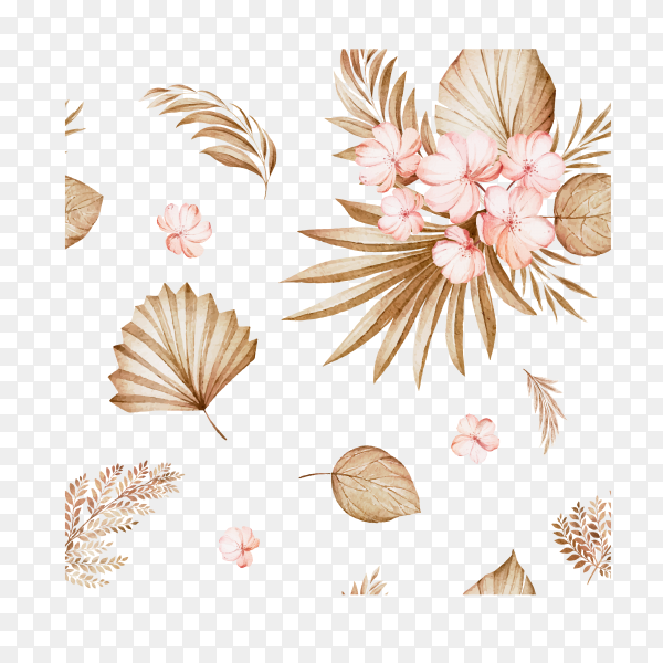 Floral seamless pattern of brown and burgundy watercolor roses and wild flowers arrangements on transparent background PNG