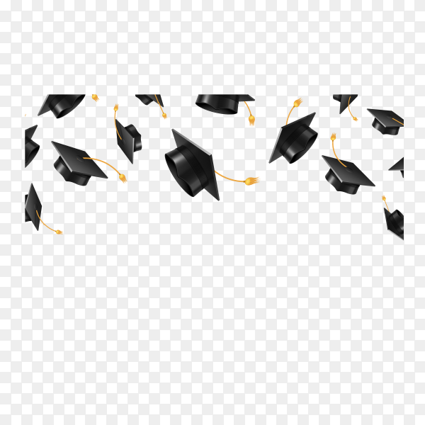 Flying graduation caps on transparent background PNG