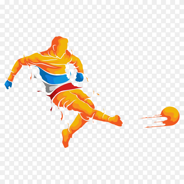 Football spirit silhouette on transparent background PNG