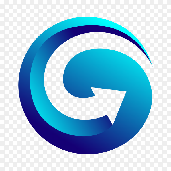 G arrow logo design template on transparent background PNG