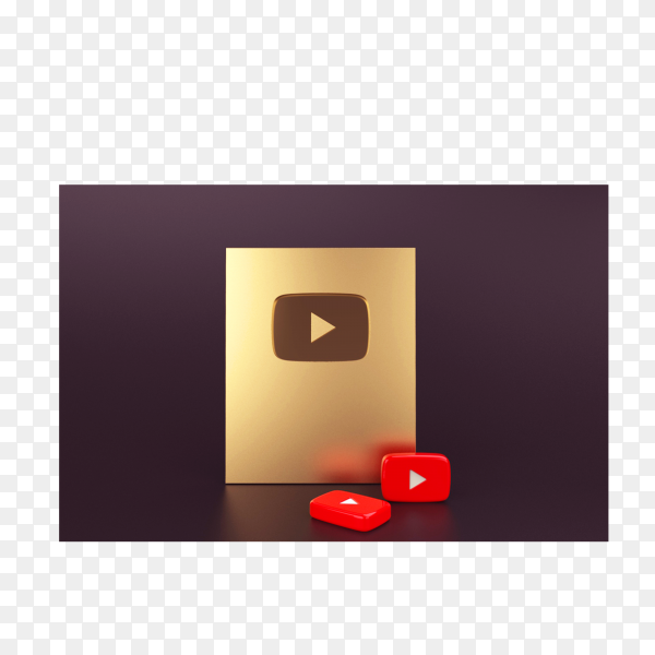 Gold play button YouTube mockup on transparent background PNG