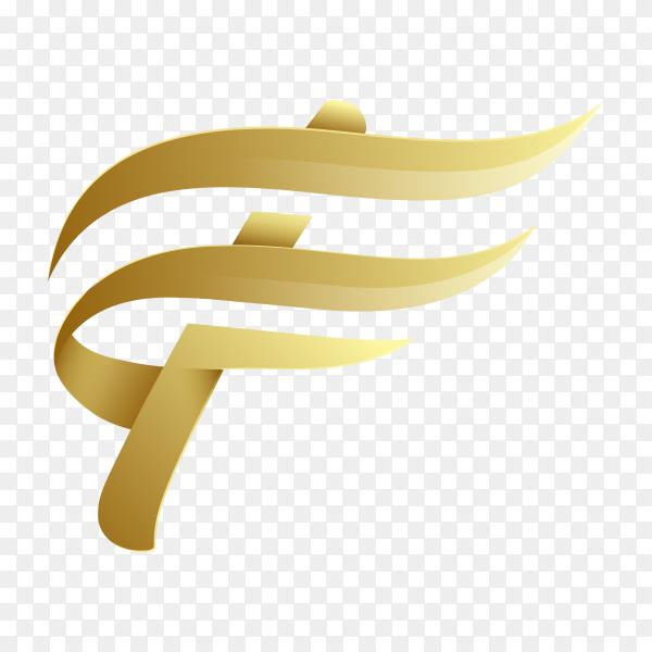 Golden Letter F logo design template on transparent background PNG