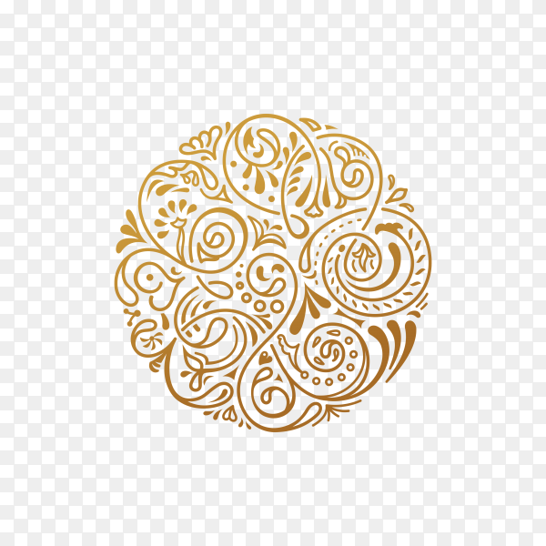 Golden Round floral pattern isolated on transparent background PNG