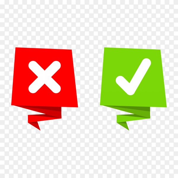 Green check mark and red cross on transparent PNG