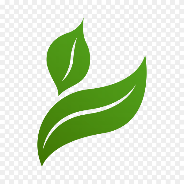 Green leaves logo template on transparent background PNG