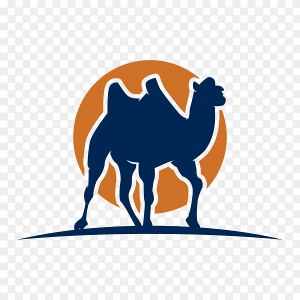 Hand drawn Arabic camel logo design template on transparent background PNG