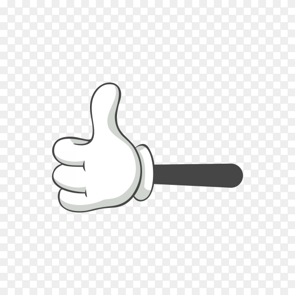 Hand drawn cartoon hand in white gloves on transparent background PNG