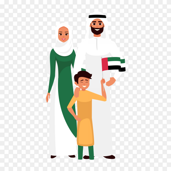 Happy family celebrating the united Arab emirates independence day on transparent background PNG