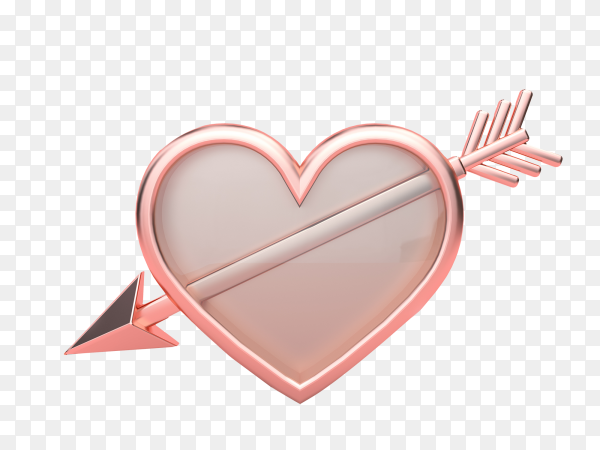 Heart with arrow on transparent background PNG